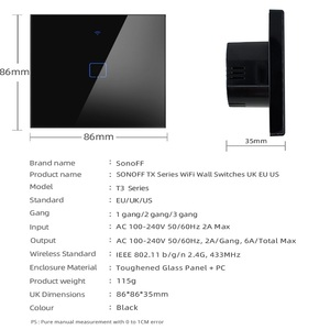 Image 2 - SONOFF TX T3 EU/UK/US Smart Wall Touch Switch 1/2/3 Gang 433mhz RF Wifi/Voice Remote Control Smart Switch Work for Alexa/Google