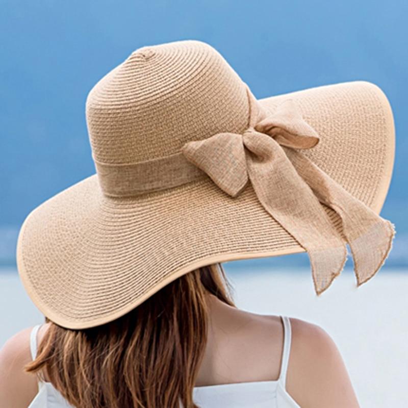 Elegant Ladies Summer Hats 2020 New Straw Hats For Fashion Bow Women Beach Sun Hats Foldable Hat Chapeau Femme