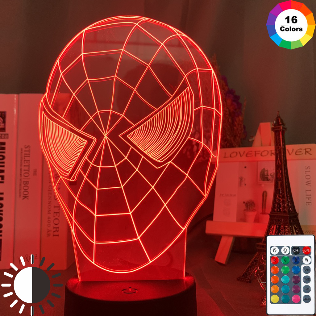 SmartEra/® 3D Optical Illusion Spider-Man Panel Model Lighting Night Color Change USB Touch button Spider Man LED Light Lamp