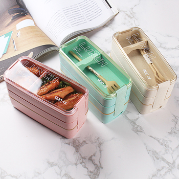 900ml Healthy Material Lunch Box 3 Layer Wheat Straw Bento Boxes Microwave Dinnerware Food Storage Container Lunchbox 2