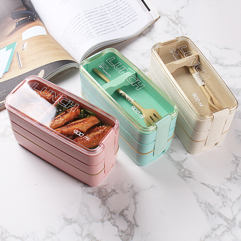 Healthy Material Lunch Box 3 Layer Wheat Straw Bento Boxes U6P3