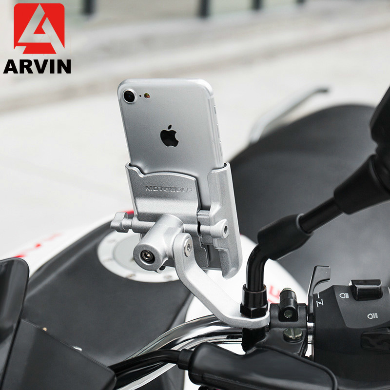 ARVIN Aluminium Motorcycle Charging Handlebar Mobile Phone Holder For IPhone X Universal Rearview Mirror USB Charger Stand Mount