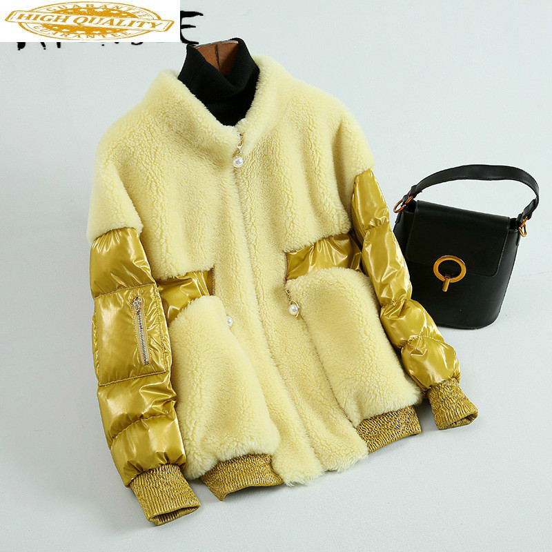 Sheep Shearing Real Fur Coat Women 100% Wool Jacket Women Clothes 2019 Spliced Winter Coat Women Fur Tops HH9758 YY1906