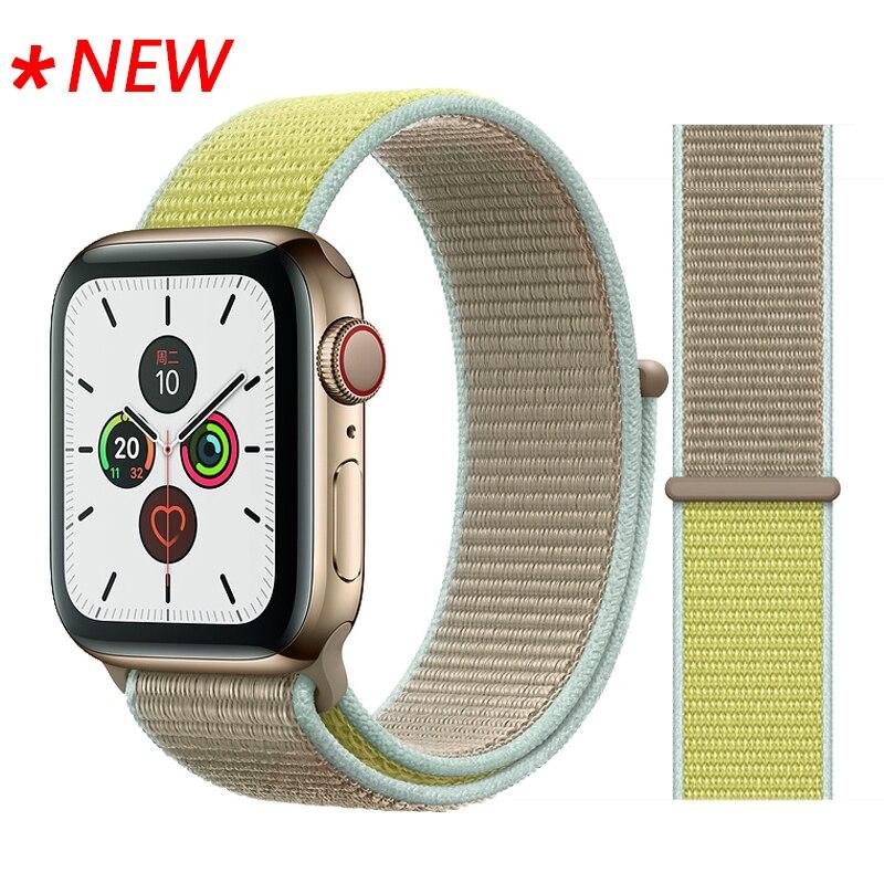 Для наручных часов Apple Watch, версии 3/2/1 38 мм 42 мм нейлон мягкий дышащий нейлон для наручных часов iWatch, сменный ремешок спортивный бесшовный series4/5 40 мм 44 мм - Цвет ремешка: 50 Camel