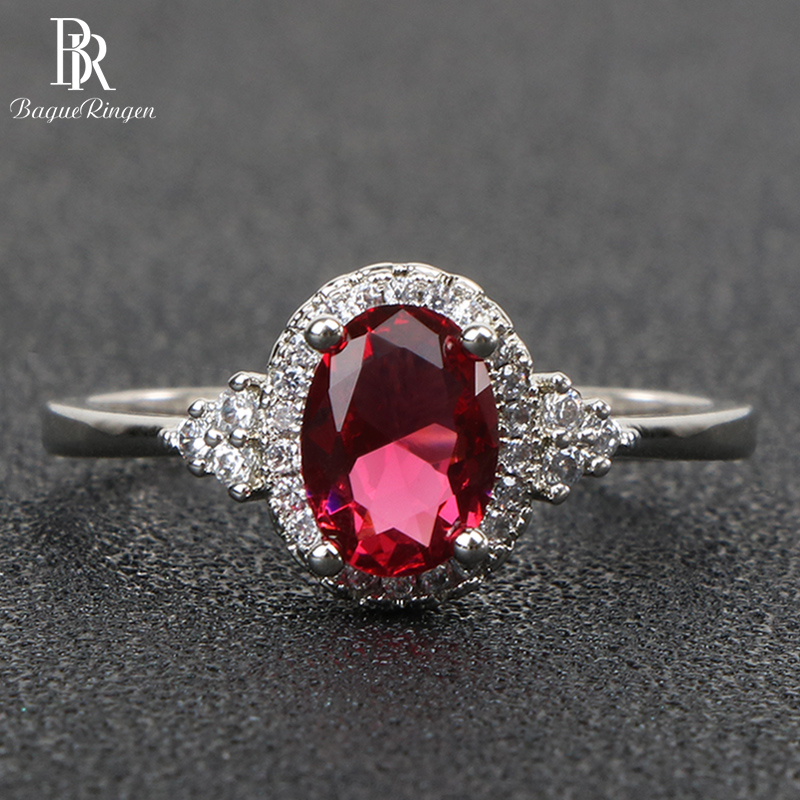 Bague Ringen 925 Sterling Silver Rings For Women With Round Shape Ruby Gemstones Aaa Zircon Silver Jewelry Women Party Gift