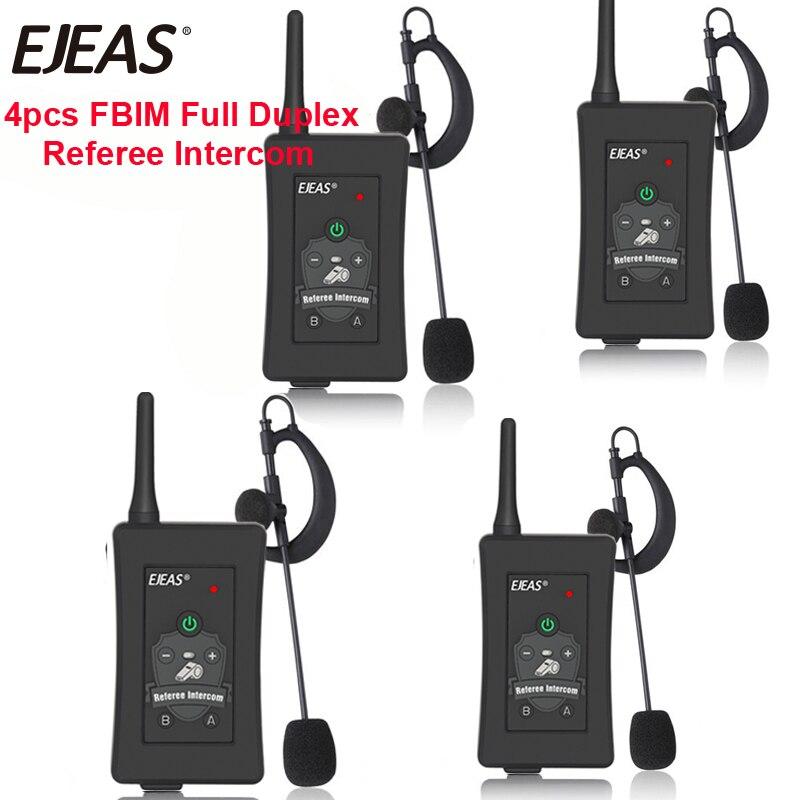 4 stücke 2019 Neueste EJEAS Marke Fußball Schiedsrichter Intercom Headset FBIM 1200M Voll Duplex Bluetooth Motorrad Sprech Wireless