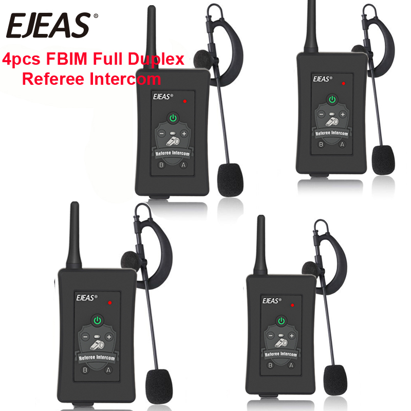 4pcs 2019 Latest EJEAS Brand Football Referee Intercom Headset FBIM 1200M Full Duplex Bluetooth Motorcycle Interphone Wireless