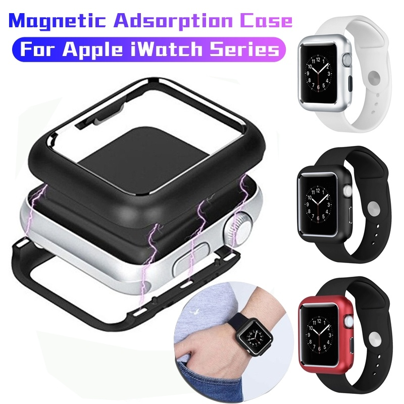 Bumper 360 Cover Full Aluminum Case for Apple Watch 5 <font><b>4</b></font> <font><b>3</b></font> <font><b>2</b></font> 44MM 40MM Magnetic Metal Protective Shell for IWatch 5 <font><b>4</b></font> 42mm 38mm image