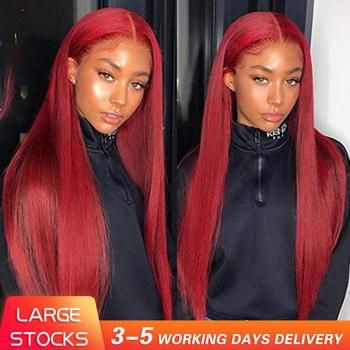Bordowy koronki przodu włosów ludzkich peruk czerwone ludzkie włosy peruka 99J 360 czołowa koronki peruka wstępnie oskubane pełna peruki typu Lace z ludzkich włosów kolorowe tanie i dobre opinie moonmagic Długi Silky prosty Pełne koronkowe peruki Koronki przodu peruk 360 Koronki Przednie Peruki Virgin hair Ludzki włos