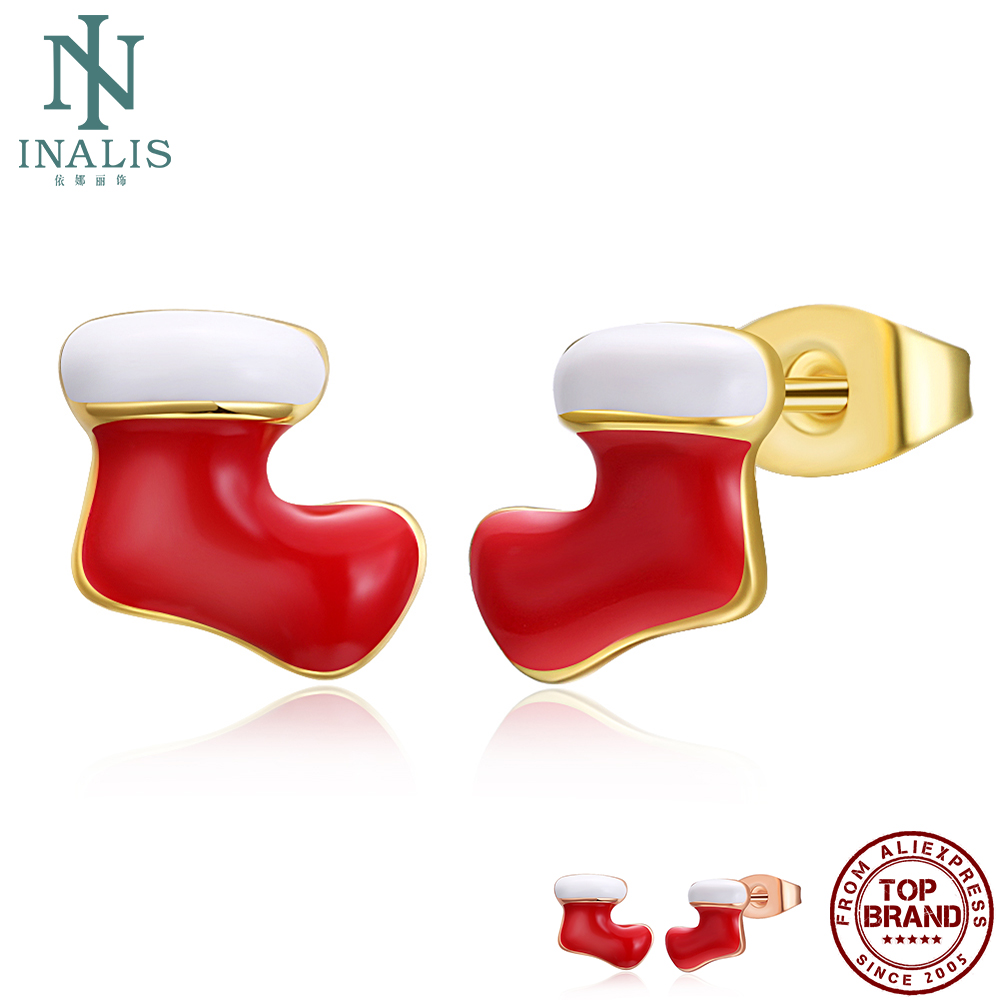 INALIS Zinc Alloy Christmas Socks Cute Earrings For Women Personality 2 Color Stud Earring Gold Plate Fashion Jewelry Best Gift