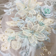 1 Set 3D pearl beaded blossom lace applique in pastel color , ostrich feather motif patch set 2 sizes for sewing DIY