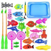 29 Pcs Magnetic Fishing Toys Plastic Fish Rod Pond Set Kids Playing Water Gifts
