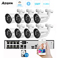 AZISHN 8Channel H.265+ 5MP POE Security Camera System Face Record NVR Outdoor IP Camera Audio Record Home Video Surveillance Kit