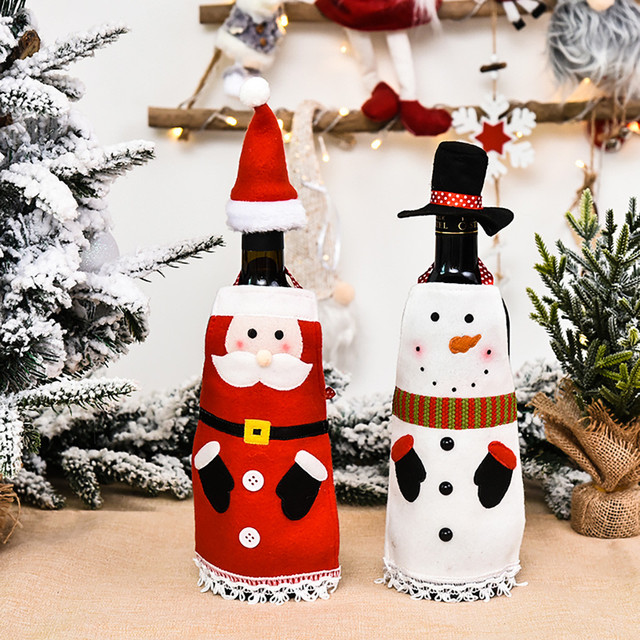 Christmas home decorations Wine Bottle Cover Bags Decoration Home Party Santa Claus Christmas boże narodzenie navidad 2