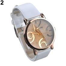 Women's watches Casual Alloy Flower Big Numbers Dial Faux Leather Strap Clock Qu