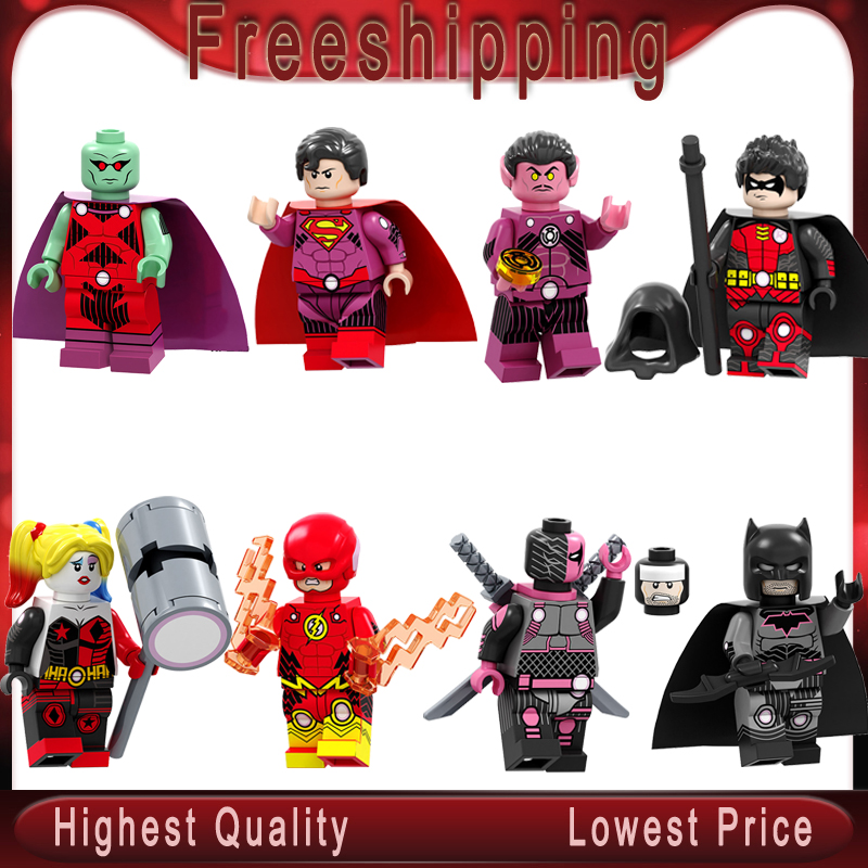 Legoed Building Blocks Super Heroes Batman Superman Martian Manhunter Robin Sinestro Flash Figures Toys For Children PG8211