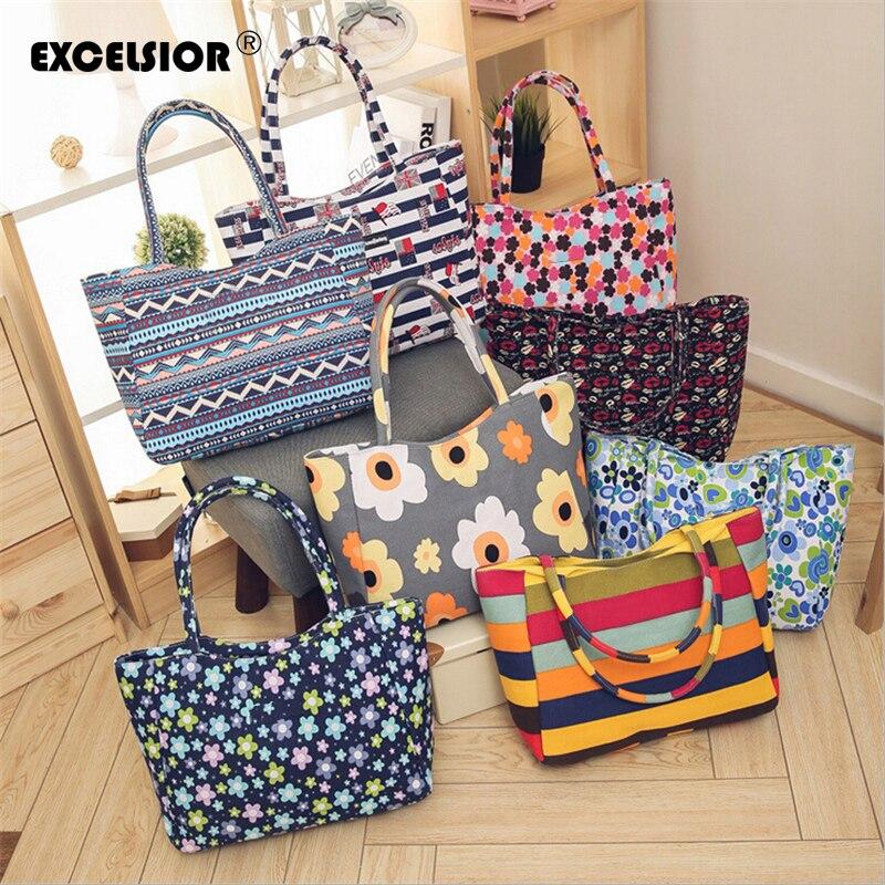 EXCELSIOR 2020 New Beach Bag for Women Floral Print Shoulder Bag Canvas Handbag Shopper Tote bolso mujer feminina sac main femme