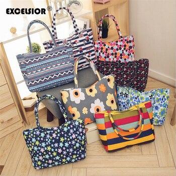 EXCELSIOR 2020 New Beach Bag for Women Floral Print Shoulder Bag Canvas Handbag Shopper Tote bolso mujer feminina sac main femme rope canvas print beach bag