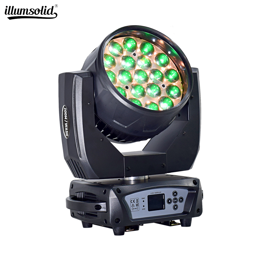 High Quality 19x15 RGBW 4IN1 Zoom Wash Beam LED Bee Eyes Moving Head Lights For Stage Dj Disco Laser Light
