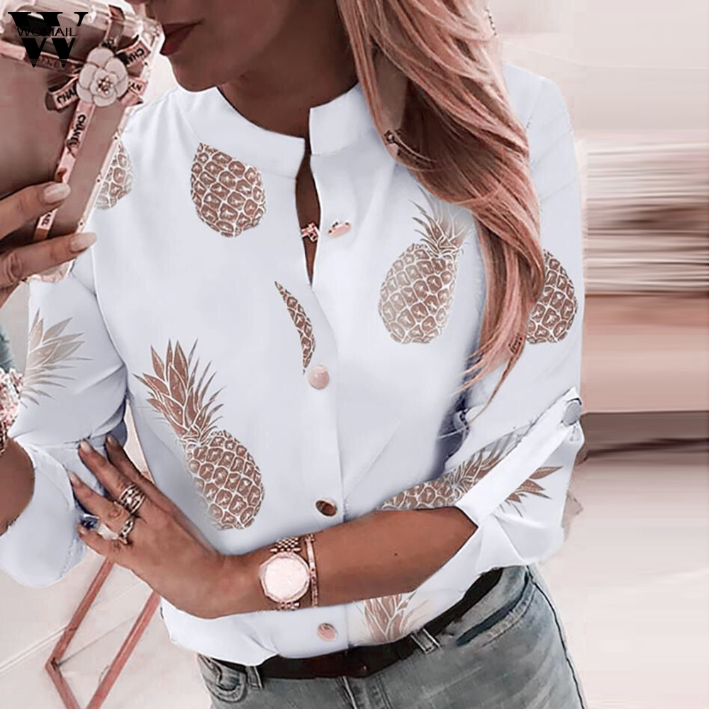 Womail Blouse Women Fashion 2019 Pineapple Print Long Sleeve Shirt Office Work Shirt Long Sleeves Button Blouse Femme Shirt 819