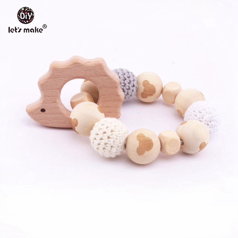 Let's Make 1pc Baby Rattle Beech Wooden Hedgehog Bpa Free Crochet Beads Bracelets Elephant Animal Teething Toy Baby Wood Rattles