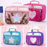 Reverse Sequin Insulated Girls Kids Lunch Box Glitter Tote Bag Shining School Picnic Tote Bag Food Organizer Storage Case
