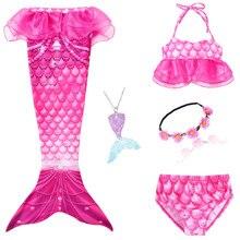 Kids Mermaid Staart Met Monofin Swimmable Filpper Kostuum Voor Meisjes Kinderen Cosplay Kostuums Zwemmen Badmode Zeemeermin Staart