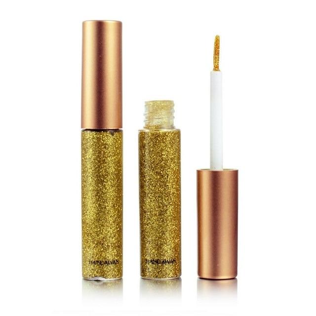 Delineador de ojos con purpurina líquida de 10 colores para mujer delineador de ojos impermeable fácil de llevar pigmentado rojo blanco oro cosméticos coreanos TSLM2