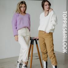 Toppies 2020 automne femme pull sexy en vrac profonde col en v une épaule pull blanc knitter hauts coréen vêtements d'hiver