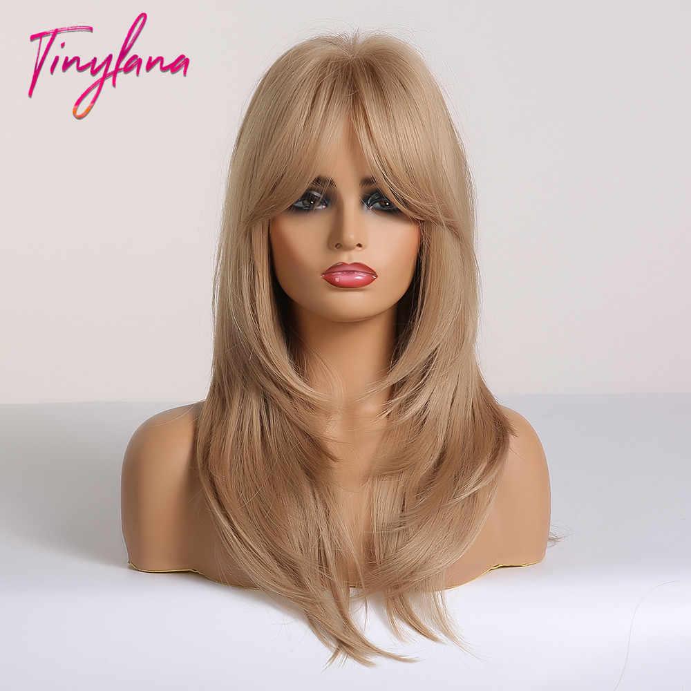 Pequeña LANA Ombre marrón Rubio longitud media recta pelucas sintéticas en capas estilo de pelo pelucas con flequillo para mujeres africano Amer