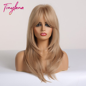 Image 2 - TINY LANA Ombre Brown Blonde Medium Length Straight Synthetic Wigs Layered Hairstyle  Wigs with Bangs for Women African Amer