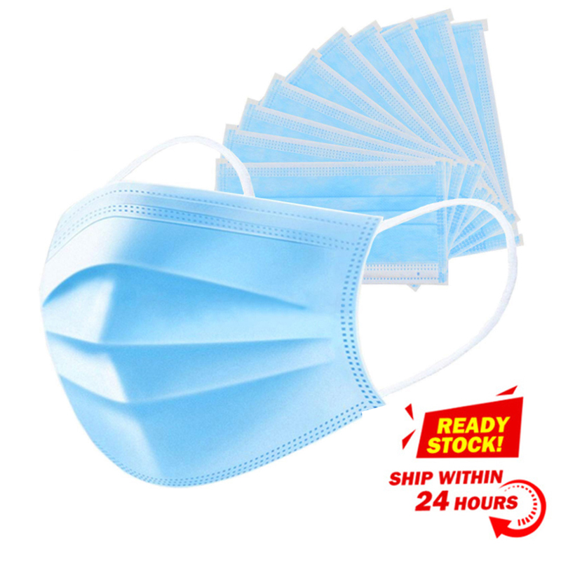 50 Pcs Face Mouth Anti-Virus Protective Mask Disposable Facial 3-Ply Anti-dust Influenza Earloop Non Woven Mouth Dust Masks