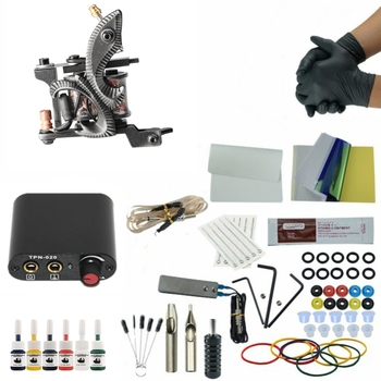 High Quality Machine With Needles Black Power Supply Single Tattoo Gun Set Permanent Make Up Professional Tattoo Kit Set