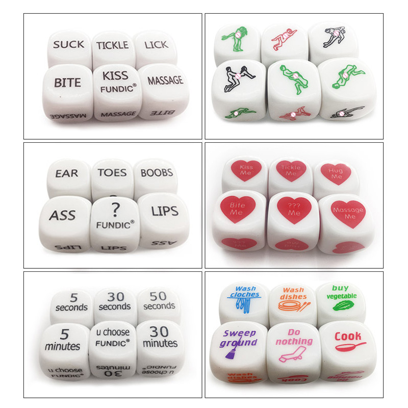 Fundic Brand 6pcs/Set Fun Dices Romance Dice Lover Couple Games Funny Flirting Toy For Adult Couples Housework Dice