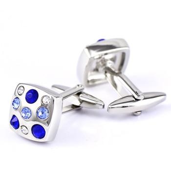 Royal blue/ Skye Blue High Grade Simple Crystal Cuff Links 1
