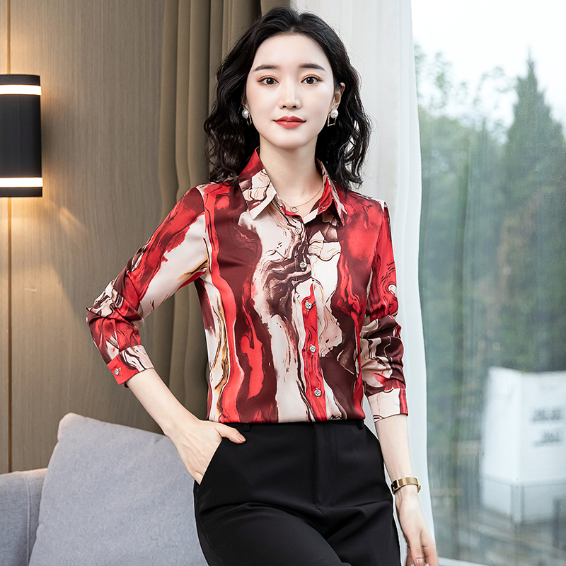 TingYiLi Vintage Printed Blouse Shirt Women Long Sleeve Boho Shirt Spring Autumn Korean Elegant Plus Size Top Female 1