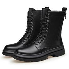 Męskie luksusowe mody wysokie buty jesień zima buty platformy motocyklowe bottes hommes etap nocny długi botas masculinas mężczyzna cheap RAINTAKI Buty motocyklowe CN (pochodzenie) Prawdziwej skóry Skóra bydlęca ANKLE Stałe Dla dorosłych Okrągły nosek