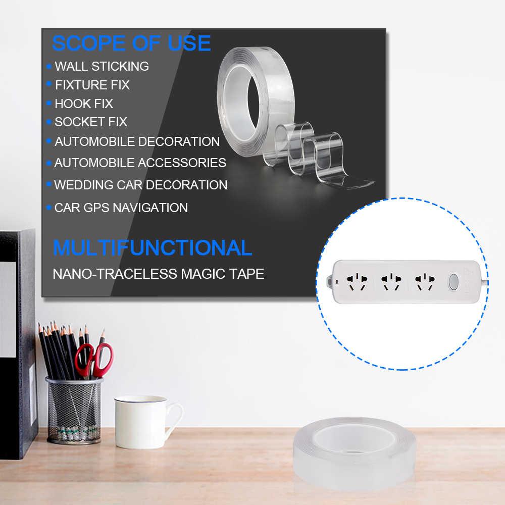 マジック両面テープ強力なナノシリコーンゲルテープ透明多機能再利用防水接着剤スティックのりインソール