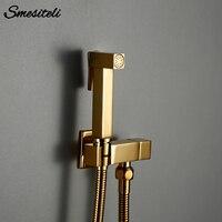 Dusche Set Douche Wc Kit Bidet Sprayer Smesiteli Gold Messing Zimmer Balkon Wand Montiert Edelstahl Shiny Einzel Loch