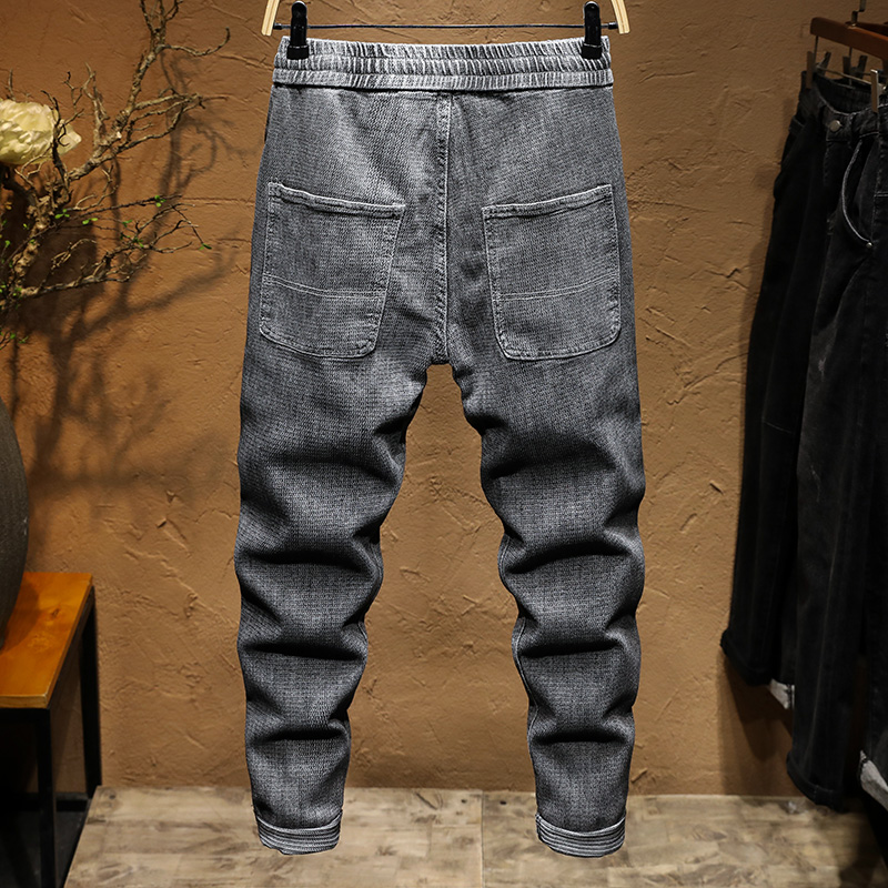 KSTUN Mens Jeans Japanese Style Stretch Gray Elastic Waist Drawstring Casual Denim Pants Teens Joggers Jean Relaxed Tapered Jean 12