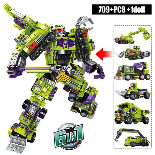 6in1 City Police Transformation Robot Building Block Military Tank DIY Engineering Excavator Technic Car Truck Bricks Kids Toys