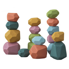 Baby Wooden Toys Jenga Colored-Stone Building-Block Educational-Toys Stacking-Game Creative