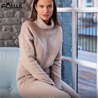 FQLWL Autumn Winter Casual 2 Piece Set Women 2019 Pink Outfits Turtleneck Knitted Sweater Suit Women Pants Ladies Matching Sets