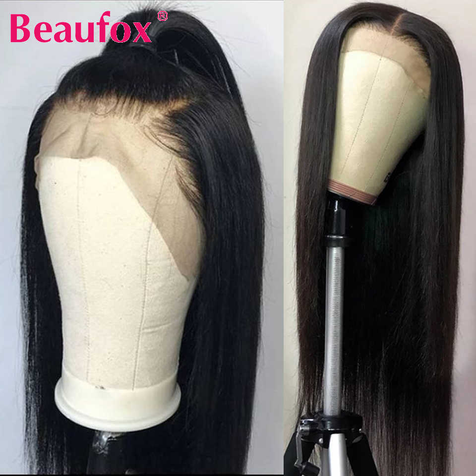 Beaufox Hair Brazilian Straight Lace Front Wigs 13x4 Lace Front Human Hair Wigs 150% Pre Plucked Natural Hairline Remy