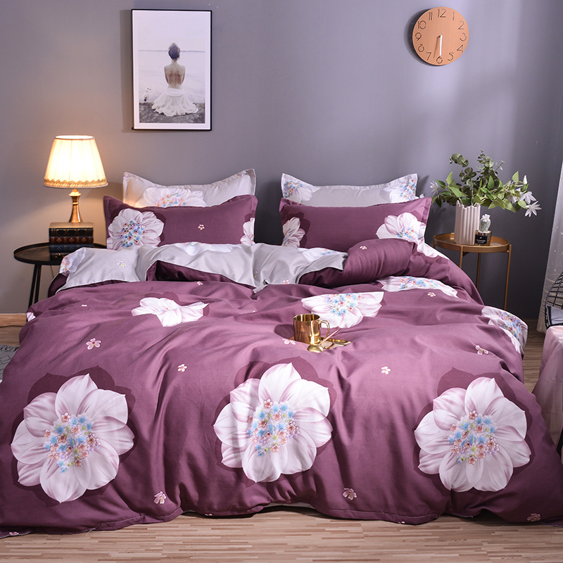 [Hundred-Flower Type Selectable] Thick Brushed Four-piece Set 2019 New Style Plant Cashmere Wool Bedding Article