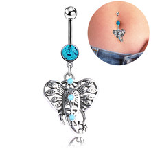 Blue Pendant Crystal Belly Button Rings Stainless Steel Anchor Tassel Sexy Lady Body Piercings Navel Piercing Accessory(China)