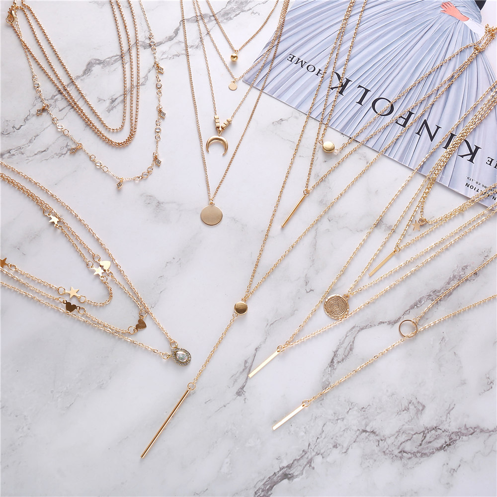 2020 New Bohemia Vintage Crystal Geometric Star Necklace For Women Fashion Gold Color Chain Boho Heart Pendant Necklaces Jewelry(China)