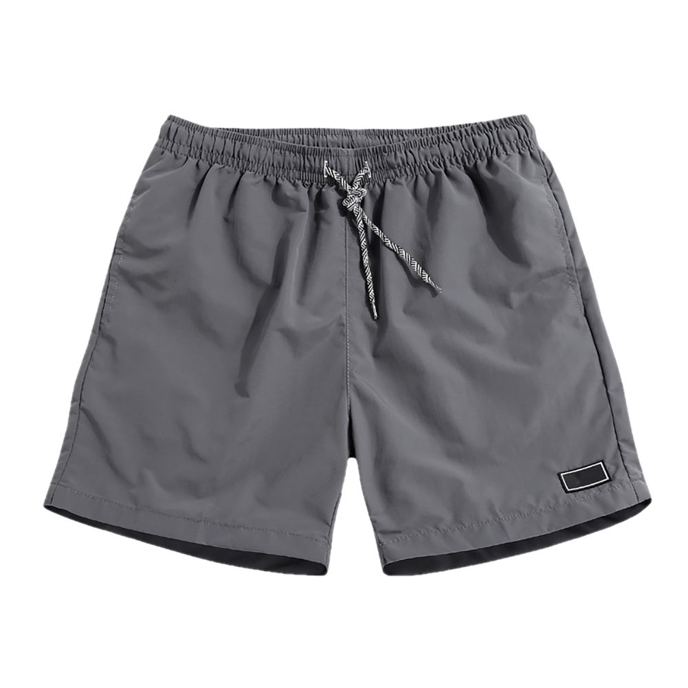 Men Casual Breathable Quick Dry Pants Pockets Beach Solid Color Sport Shorts 2