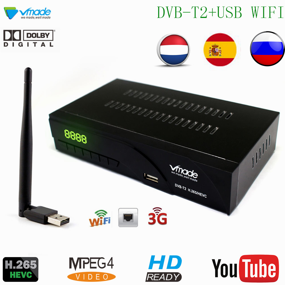 Vmade DVB-T2/t h.265/hevc hd 1080 p suporte receptor de tv digital terrestre rj45 rede dolby ac3 + wifi stardard conjunto-caixa superior