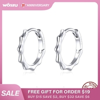 WOSTU véritable 925 en argent Sterling vague ligne cerceau boucles d'oreilles Simple cercle grandes boucles d'oreilles pour les femmes à la mode bijoux cadeau CQE843